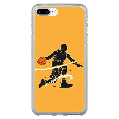 BJJ SHOP Funda Transparente para [ iPhone 7 Plus/iPhone 8 Plus ], Carcasa de Silicona Flexible TPU, diseño : Jugador de Baloncesto regate