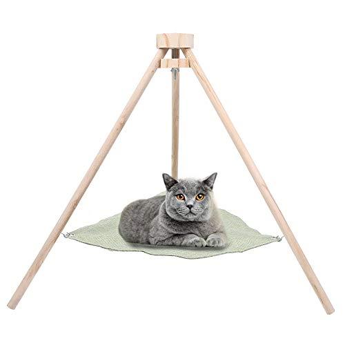 ペットハンモックベッド 猫寝床 ネコベッド 猫 ハンモック ベット 三角構造 通気性抜群 日向ぼっこ 遊び場 小動物用 ハンモック (グリーン)
