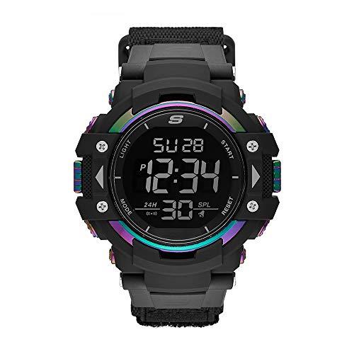 Skechers Men's Keats Nylon Digital Watch, Color: Black, Multi (Model: SR1118)