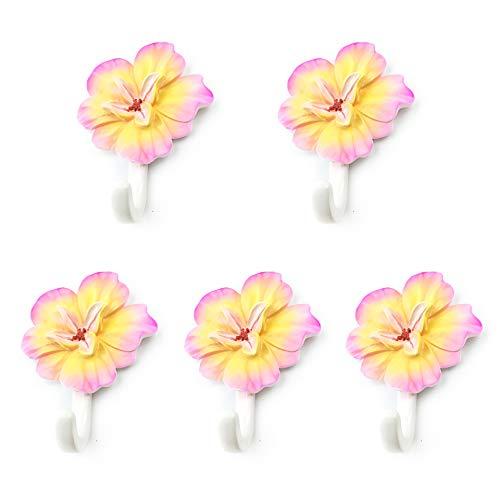YANGMAN Auto adhésif patères, 5 pcs Mur monté en résine Crochets Rack pour Chambre d'enfant Couloir Salon ou Chambre d'enfant, Crochet de décoration de la Maison, 10 x7 cm, Fleur d'hibiscus Lumineux