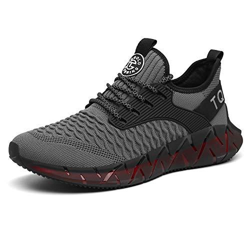 tqgold® Herren Damen Sportschuhe Laufschuhe Atmungsaktiv Sneaker Leichte Trainers Schuhe Grau 42