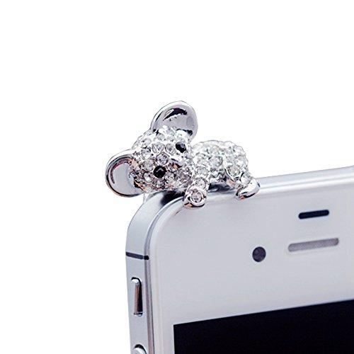JUNGEN Koala Schutz Headset 3.5 mm Diamant Bär Anti-Dust Plug Staubschutz Glitzer Stöpsel Anti-Staub-Stecker Kappe für Smartphones Tablet, Silber