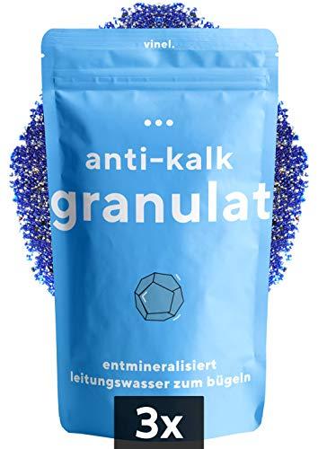 vinel® - (NEU) Entmineralisierungsgranulat für Bügelsysteme mit Wasserfilter - Kalkschutz + Salzschutz + Rostschutz - Entkalker Kalkschutz Ersatz Granulat (3er Pack)