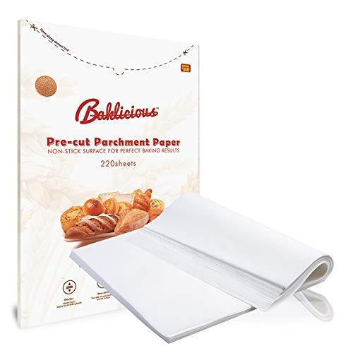 Baklicious 220 pcs Parchment Paper Sheets 9x13/12x16 White Parchment Sheets for Baking(12x16 inch)