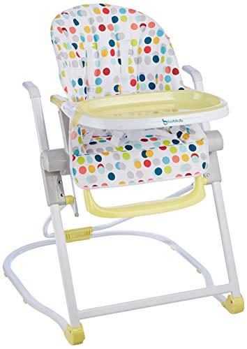 Badabulle B010701 Kompakter Hochstuhl, mitwachsender Kinderhochstuhl, Babyhochstuhl, 5-fach höhenverstellbar, einfach zusammenzuklappen, mit großem Esstisch, mehrfarbig