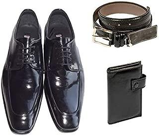 Eray Kundura Klasik Siyah Düz Erkek Ayakkabısı + Cüzdan + Kemer