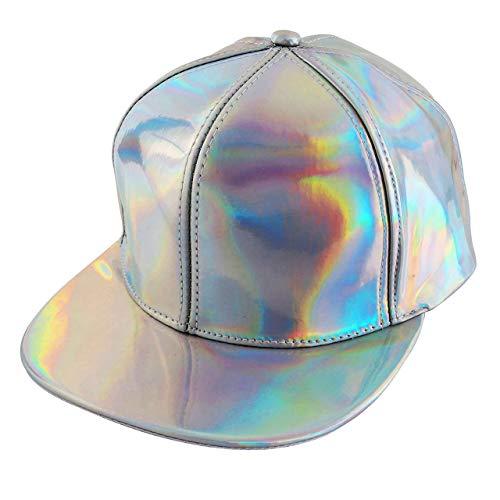 CHIC DIARY Hipster Damen Herren Snapback Cap Baseball Kappe Hiphop Cap aus Laser-PU (Silber)
