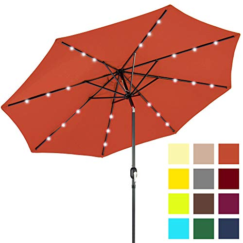 Best Choice Products 10-Foot Solar Powered Aluminum Polyester LED Lighted Patio Umbrella w/Tilt Adjustment and Fade-Resistant Fabric, Rust