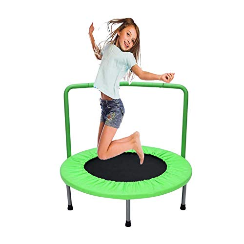 TBTBGXQ 36-inch Kids Bungee Trampoline with Handrail and Padded Cover, Home Mini Rebounder, Ages 3 to 10 Children Jumping Bed,Toddler Trampoline, Fitness Trampolines