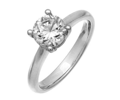 Naava - Anillo para Mujer de Oro Blanco 18K con Diamante Corte Redondo 1.5 ct Talla 11
