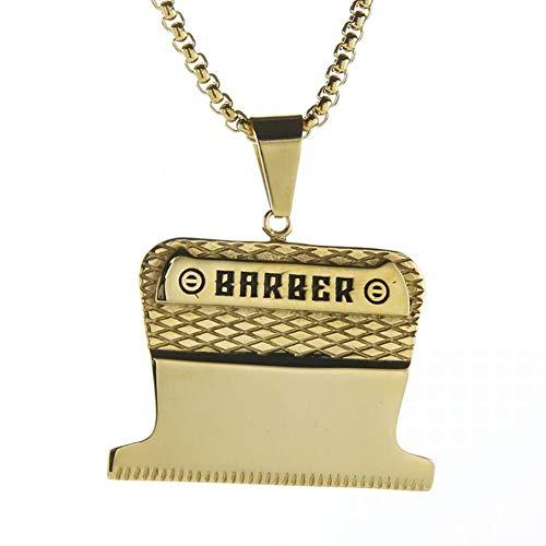 LWYNZ Herren Halskette Golden Barber Anhänger & Halskette Edelstahl Shiny Shaver Haarschnitt Halsketten Schmuck für Männer Frauen, 23'Box Chain
