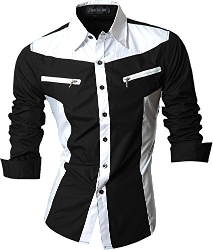 jeansian Herren Freizeit Hemden Shirt Tops Mode Langarmshirts Slim Fit (USA XL, Z018_Black)