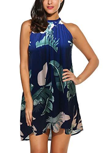 BLUETIME Women's Casual Sleeveless Halter Neck Boho Print Short Dress Sundress (XL,...