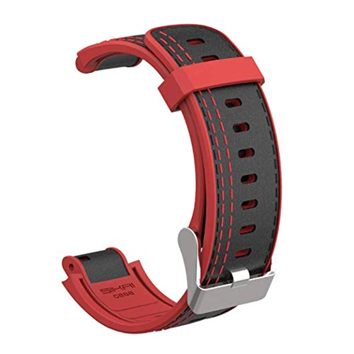 Oboe Smart Watch Silicone Leather Band Strap Breathable Lightweight Skin-Friendly Sport Band for Amazfit Verge and Verge Lite (Black/Red)