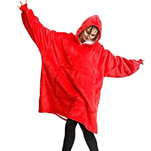 FLUFFY WEARABLE BLANKET - This oversize blanket keeps you warm and cozy while you are lounging around the house, watching TV, reading, playing video games, working on your camputer, camping, enjoying sporting event .Perfect for fall campfires, cold m...