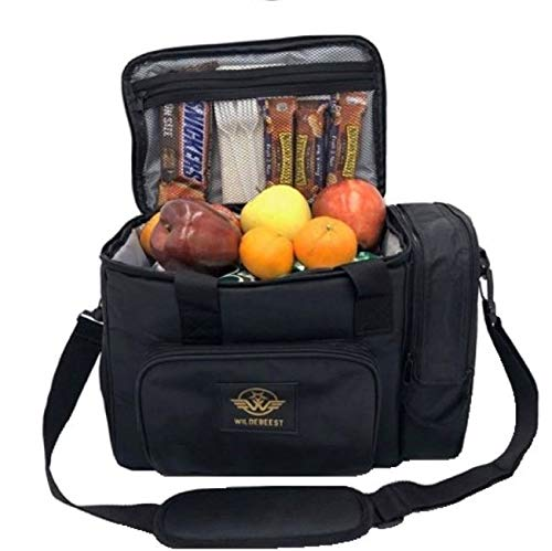 Wildebeest Insulated Lunch Box Lunch Bag for Adults Men Women Children Collapsible Cooler Bag Black