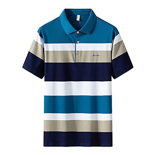 Shirt Hombre Manga Corta Vintage con Botones A Rayas Tapeta De Hombre T-Shirt De Verano Clásico Moderno Hombre Shirt Ocio Golf Deporte Al Aire Libre Hombre Polo