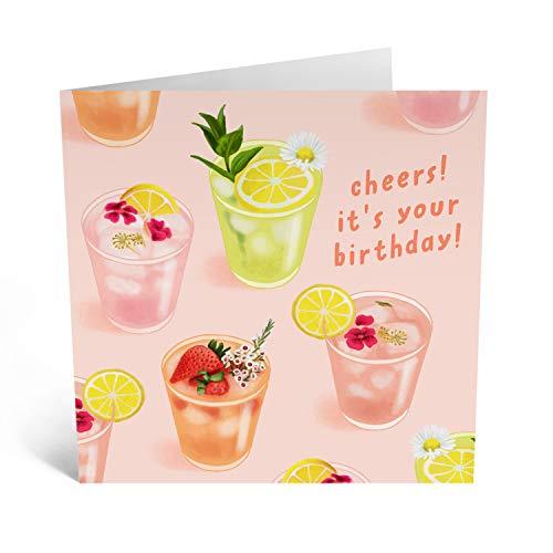 Central 23 - Tarjeta de cumpleaños para ella - Cócteles de celebración - Viene con divertidos adhesivos
