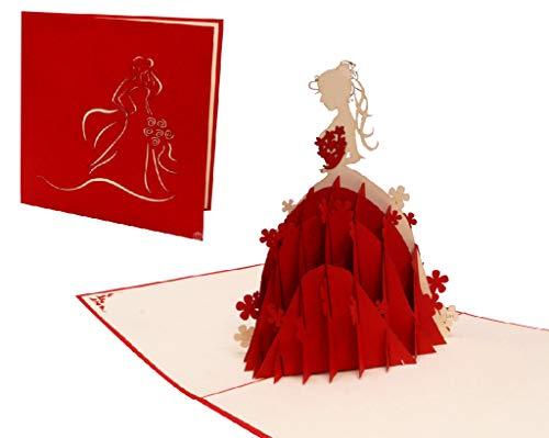 LIN17339, POP UP Karten, 3D Karten Geburtstag Mädchen, Grußkarte Prinzessin, Geburtstagskarten, Grußkarte Hochzeit, Brautkleider, Prinzessin, N225