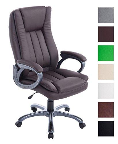 CLP Sedia Ufficio XXL Bern In Similpelle I Poltrona Studio Regolabile In Altezza 47-57 CM I Sedia Imbottita, Colore:marrone