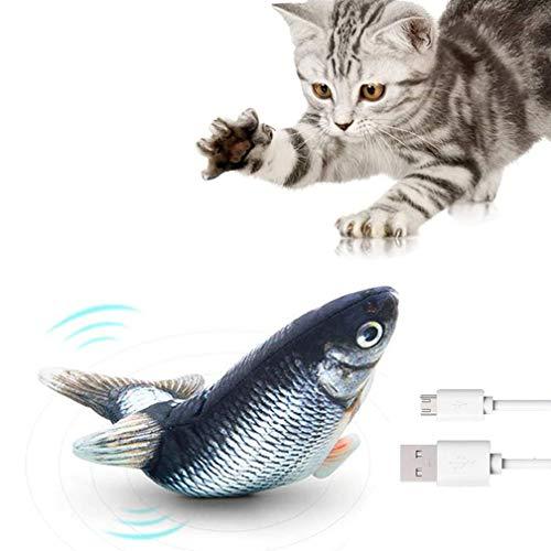 TOPOFU Juguetes de Peces para Gatos,30cm Eléctricos Juguete Interactivo Peluches Pescado,Juguetes de Hierba Gatera,Uguete Interactivo de Gato para Jugar, morder, Masticar(USB Recargable)