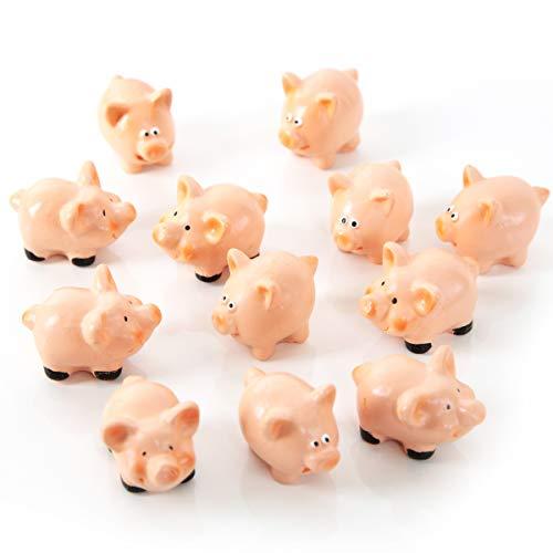 12 Stück kleine Glücksschweinchen rosa rot rose 4,5 cm Glücksbringer Mini-Schweine Silvester Neujahr Glücksschwein Symbol Geschenk give-away Deko Mitgebsel