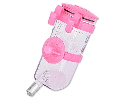 ds. distinctive style Bottiglie d'Acqua per Conigli No Gocciolamento 350 ml / 12 Once Cuccioli Cassa Dispenser d'Acqua Gabbia per Animali Domestici Bottiglie d'Acqua sospese (Rosa)