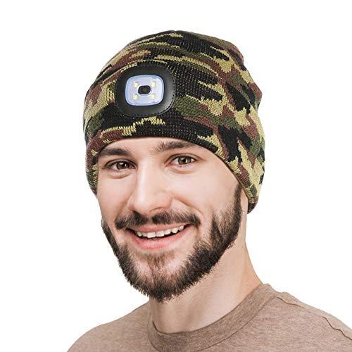 Strickmütze mit Licht, Unisex-Winterwärmer-Strickkappe, USB Nachladbare LED Mütze Hut, Hands Free Scheinwerfer Cap mit 3 Helligkeitslevel - Abnehmbar Waschbar und dimmbar für Jogging - Tarnung