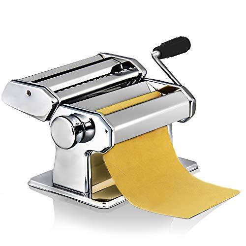 loikero123 Máquina Pasta Fresca, Máquina de Cortador de Pasta de Acero Inoxidable, Máquina de Rodillos para Casa Cocina Fabrica de Fideos Frescos de Masa Tagliatelle de Lasaña de Espaguetis