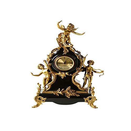 Elegante Reloj de Mesa Cobre americano con adornos decorativos de porcelana, relojes de ángel, relojes, relojes, artesanías de gama alta retro de estilo europeo, cobre Reloj de Escritorio