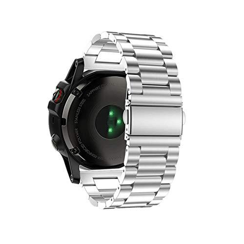 NICERIO 22mm Correa de Reloj - Acero Inoxidable Correa Sólida Despliegue Doble Hebilla Pulsera de Reemplazo Compatible para Samsung Gear S3 Classic/Frontier/Huawei Watch GT (Plata)