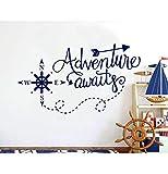 Adventure Awaits Wall Decals Nautical Compass Nursery Boys Decor Nautical Art Home Decorations Bathroom Kdis Room Sticker 73X42Cm