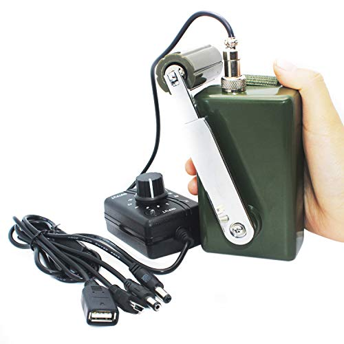 HUABAN Portable Hand Crank Generator High Power Charger for Outdoor Mobile Phone Computer Charging 30W / 0-28V with USB Plug (Green Generator + DC Regulator)