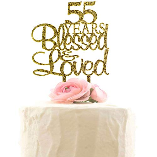 55 Years Blessed & Loved Cake Topper, 55th Birthday Wedding Anniversary Party Decorations (Gold Glitter)