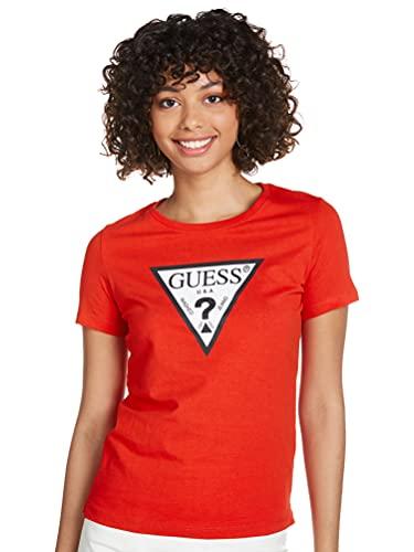 Guess Camiseta roja de Manga Corta con Cuello Redondo para Mujer W1RI00I3Z11-G5N1 XL