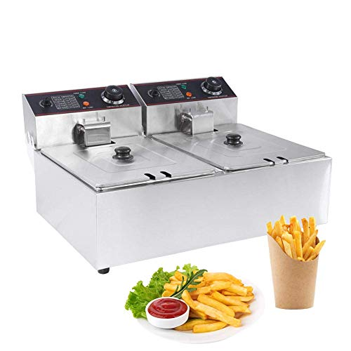 Catering Friteuse roestvrij staal dubbele friteuse (2 x 6 liter, 2 x 2,5 kW, thermostaat, 2 x temperatuurregelaars, roestvrij staal)