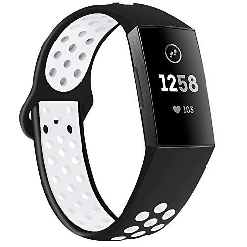 QIBOX Compatible with Charge 4 / Charge 3 Bands, Sports Silicone Replacement Women Men Bands Breathable Soft Strap Bracelet Accessories Compatible Charge 3 SE Fitness Activity Tracker Small Large