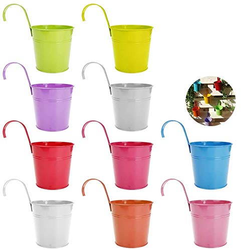 Kaufam Secchiello per Vaso in Metallo da 10 Pezzi, Vaso da Appendere, Decorazione Domestica per Balcone, Gancio Rimovibile (Assortimento in 10 Colori)