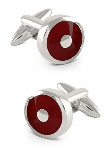 ZAUNICK Gemelos de plata 925 hechos a mano en color rojo burdeos