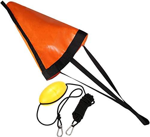 ZXAZX Drift Sock Sea Anchor Drogue con 30 piedi Kayak Tow Rope Line Boje Ball Float Leash Sea Brake System tuta per barca da 18 pollici 12-14 ft (arancione)