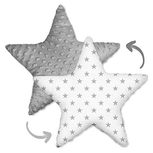 Cojín decorativo para habitación infantil, diseño de estrella, para niños y niñas (gris claro Minky - estrellas grises, 60 cm)