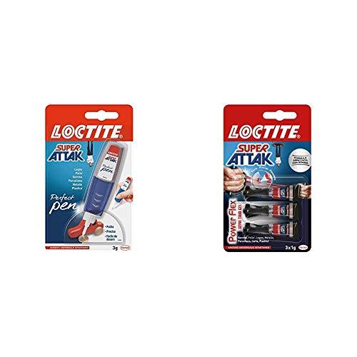 Loctite Super Attak Perfect Pen, colla resistente con applicatore a penna per applicazioni facili & Power Flex MINI TRIO GEL, adesivo trasparente e istantaneo specifico per materiali flessibili