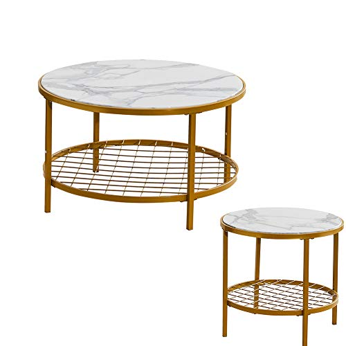 RZZX Coffee Table Set with Marble Effect Metal Frame Side Table End Table Suitable for Living Room Office Nesting Tables 2-Piece Set