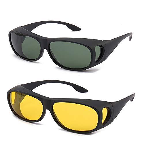 2PCS Prescription Glasses Optic HD Night Day Driving Wrap Around Anti Glare Sunglasses Fitover Glasses