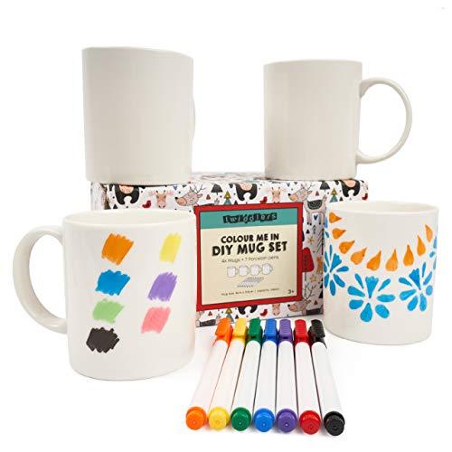 THE TWIDDLERS Juego de 11 Piezas para Decorar Tu Taza - 4 Tazas Porcelana Blanca para Diseñar y Pintar, 7 Rotuladores