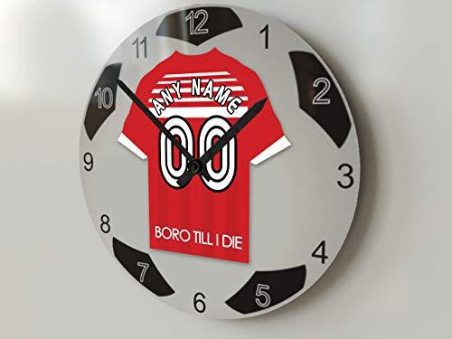 FanPlastic EFL Championship Große Fußball-Uhr – alle Teams, Fußball-Uhren-Stand-Design. !, FC Middlesbrough
