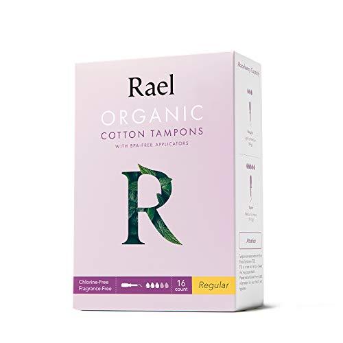 Rael Tampons coton bio avec applicateur sans BPA, sans chlore (Régulier), (16 unités) (2 paquets, total 32 unités)