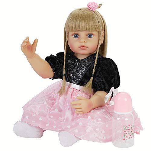 Lebensechte BabypuppenWie Echtes Baby22Zoll/55Cm Baby Puppe Echt Aussieht Mädchen, Reborn Baby Silikon Realistische PuppeSexpuppe Neugeborene Kinderspielzeug,Blau,55cm