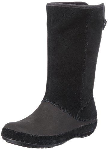 Crocs Damen Berryessa Tall Suede Schlupfstiefel, Schwarz (Black/Black), 34/35 EU