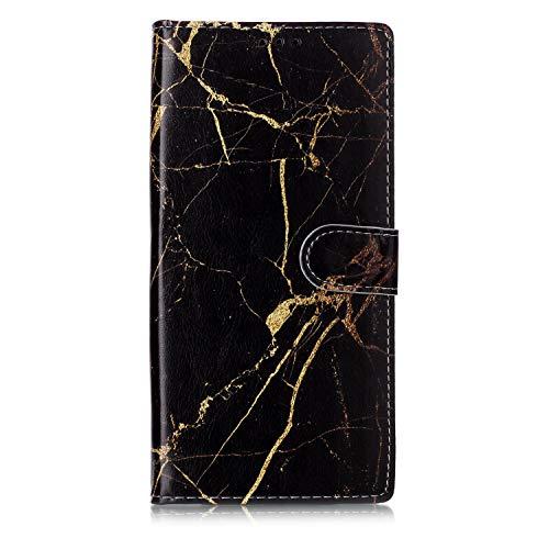 Shukukan Note 10 Pro Case Portemonnee, Zwart Goud Marmer
